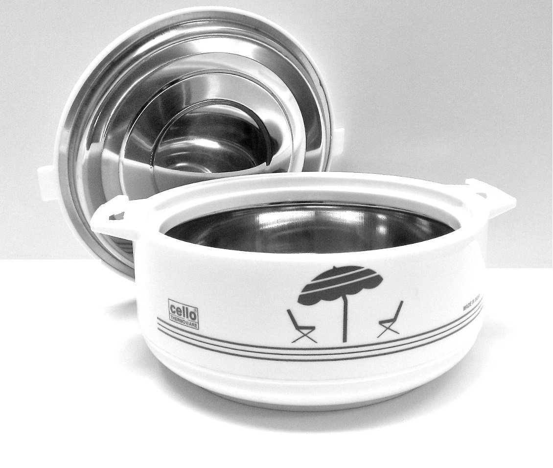 Cello Chef Casserole Gift Set 3 Pieces White Hotpot Food Warmer Chapati Rice Food Keeper Stainless steel insulated DHL Shipping Faster delivery