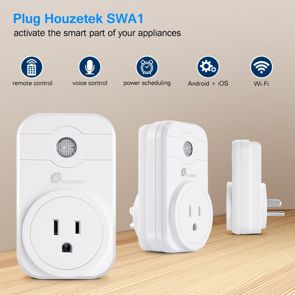 Smart plug, Houzetek Mini Wifi Outlet with Remote Control & Timer Function, Compatible with Alexa, Google Home & IFTTT, No Hub Required (2 pack)
