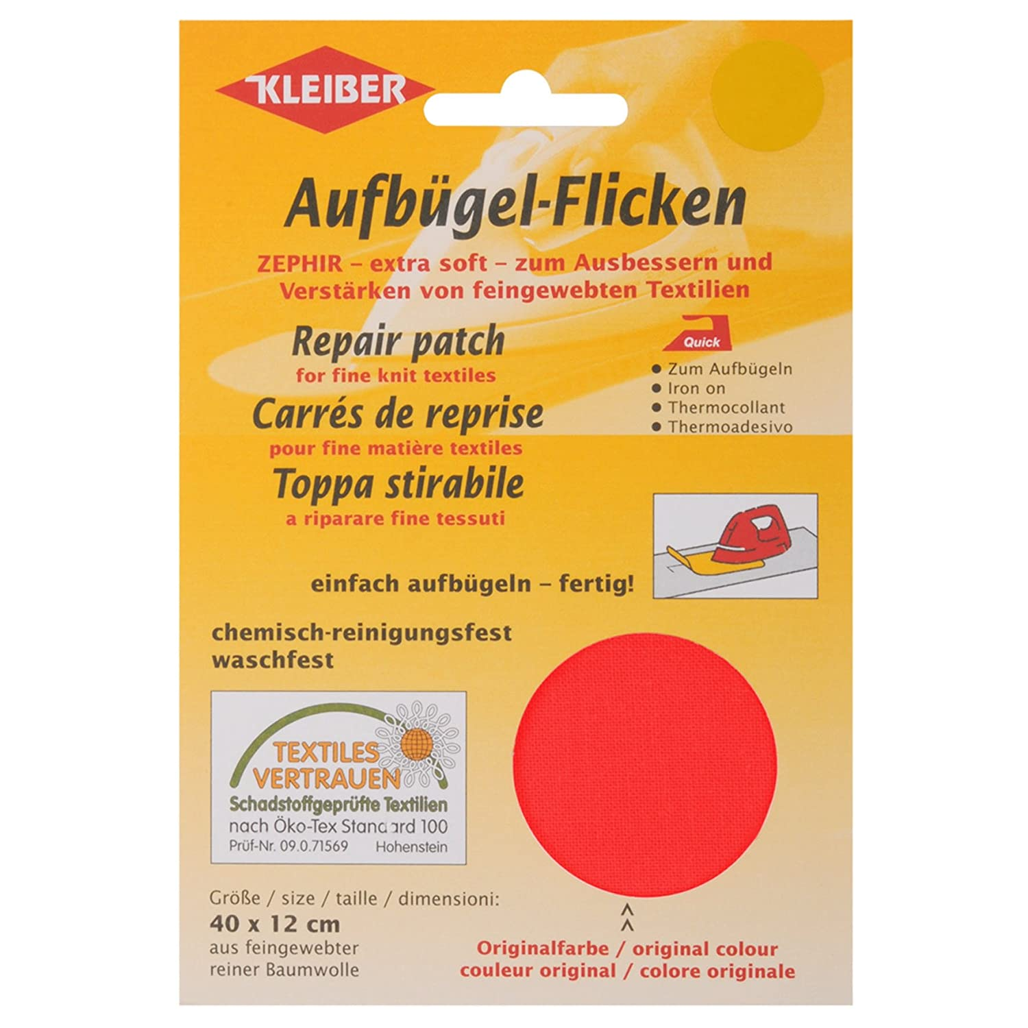 Kleiber 40 x 12 cm Cotton Iron on Repair Patch for Fine Knit Textiles, Red 320-10