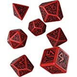 Dwarven Role Playing Game Dice, Red - Black (Set of 7 Dice)