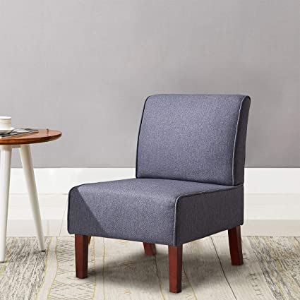 . IDS Modern Side Chair for Living Room Bedroom  Accent Chair   Wood Legs  Dark Grey Fabric