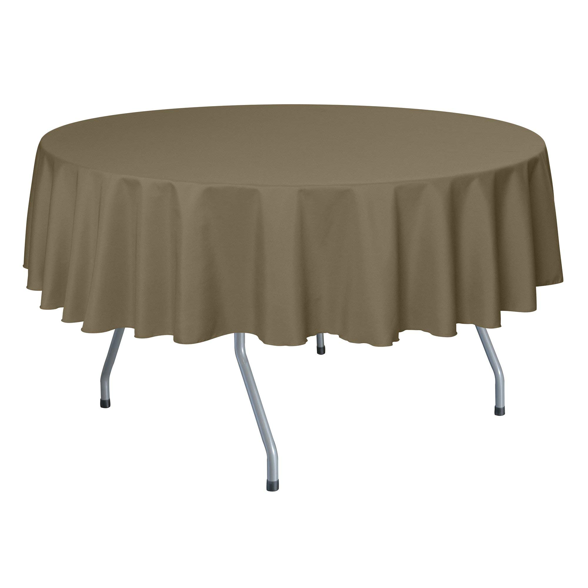 Ultimate Textile -10 Pack- 72-Inch Round Polyester Linen Tablecloth, Cafe Khaki by Ultimate Textile