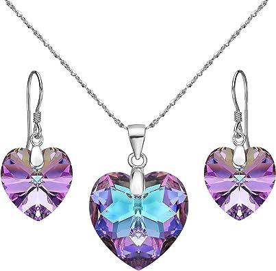 Parure de bijoux pour fille en argent sterling 925 avec zircone cubique transparente Coloris Violet
