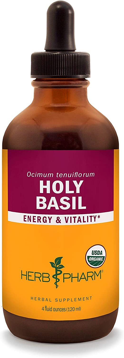 Herb Pharm Certified Organic Holy Basil Tulsi Liquid Extract for Energy and Vitality – 4 Ounce