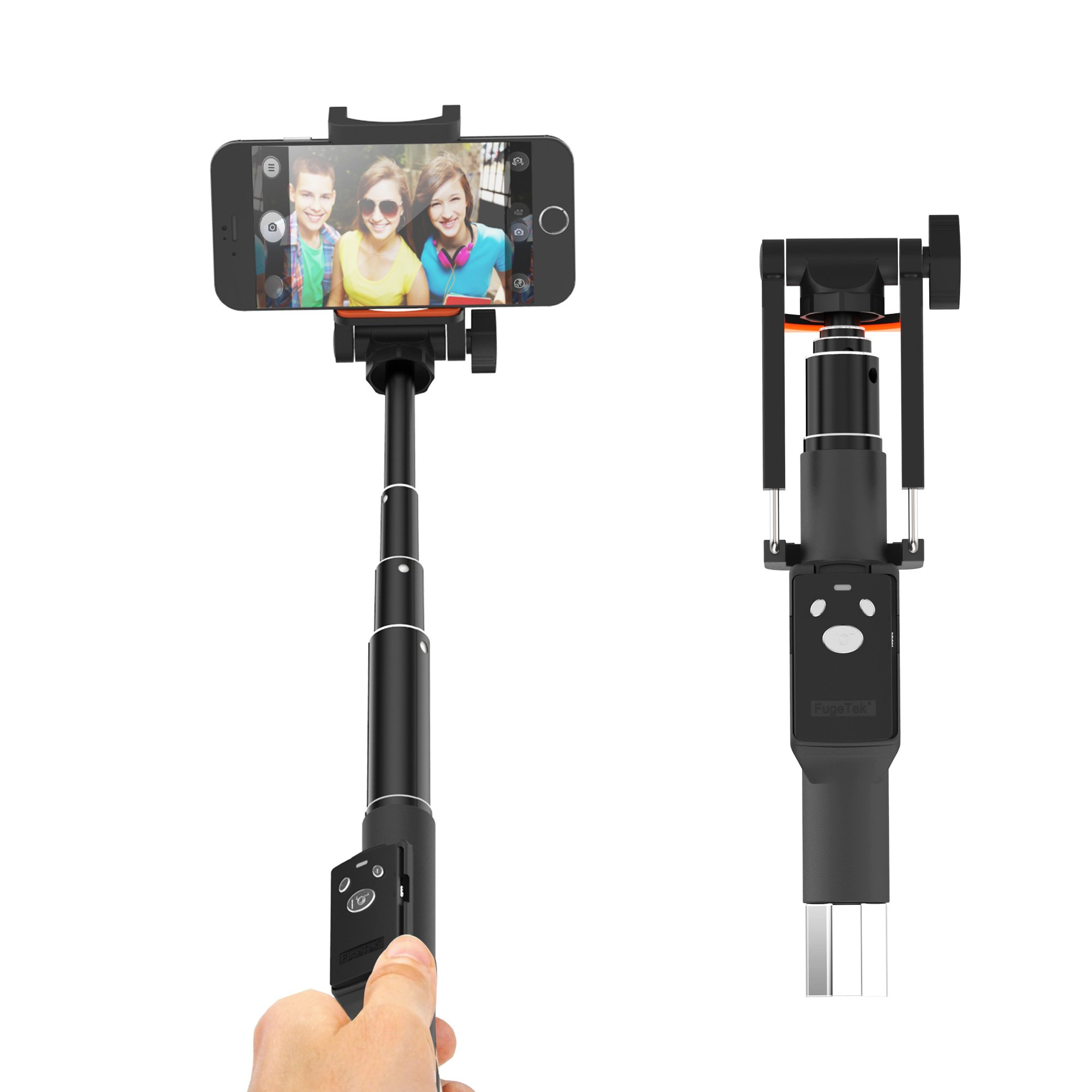 Professional Selfie Stick 32'', Portable, Fugetek, Removable Rechargeable Bluetooth Remote, Easy iPhone & Android Pairing, Lightweight Twist & Lock Aluminum, US Warranty and Support, Black