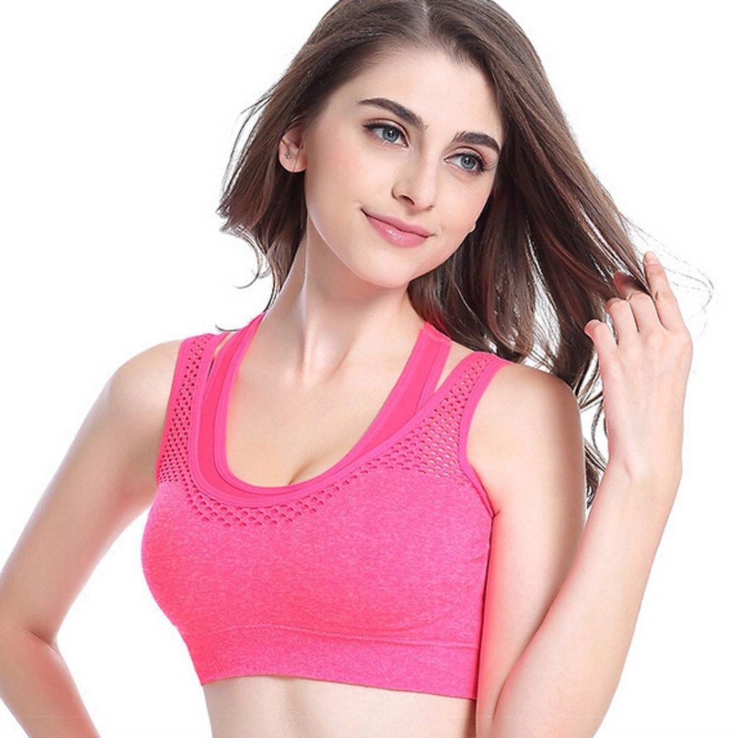 Women Sports Bra Double Layer Seamless High Impact Racerback Yoga Running Sports Bra