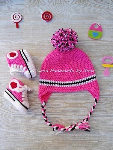 Cappellino E Scarpine Per Neonata In Stile Converse Fatto A