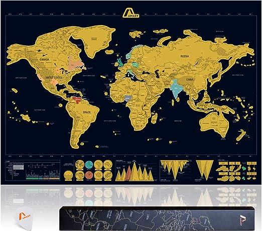 Amazy Mapa Mundi Rascar XXL (Negro | 82 x 59 cm) – Mapa mundi ...