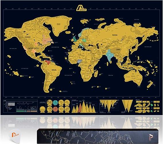 Amazy Mapa Mundi Rascar XXL (Negro | 82 x 59 cm) – Mapa Mundi Pared Grande –aprende países y Cultura – Mapa del Mundo Ideal para el hogar.: Amazon.es: Hogar