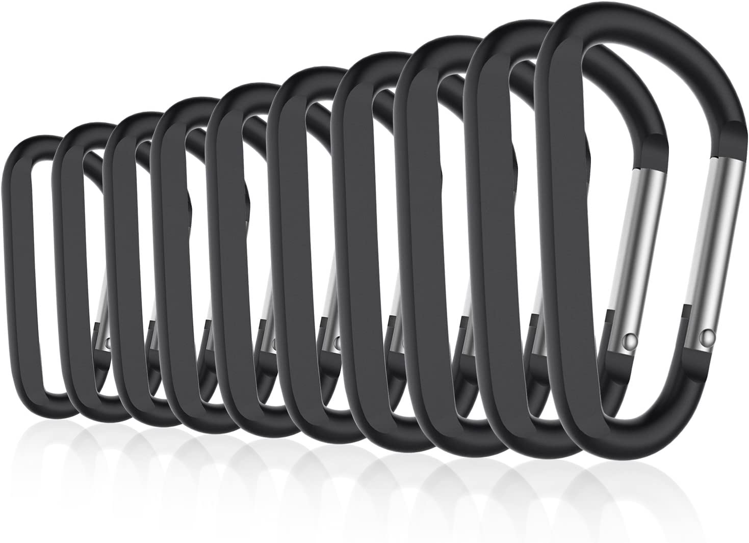 Michael Josh 8PCS 3 Carabiner Caribeaners Carabeeners Carabeaner Hook Clips with 8PCS Keyrings Not for Climbing