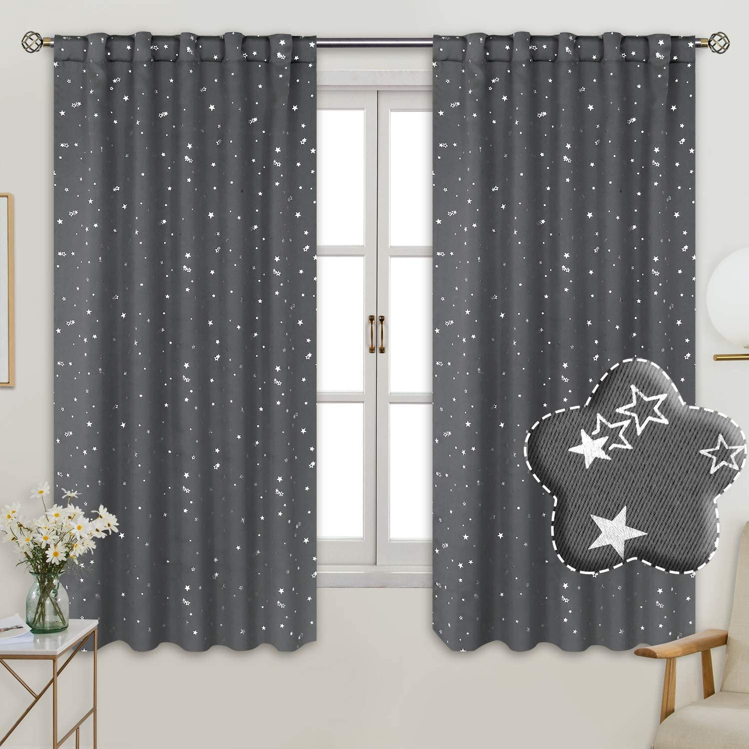 BGment Rod Pocket and Back Tab Blackout Curtains for Kids Bedroom - Sparkly Star Printed Thermal Insulated Room Darkening Curtain for Nursery, 42 x 63 Inch, 2 Panels, Grey