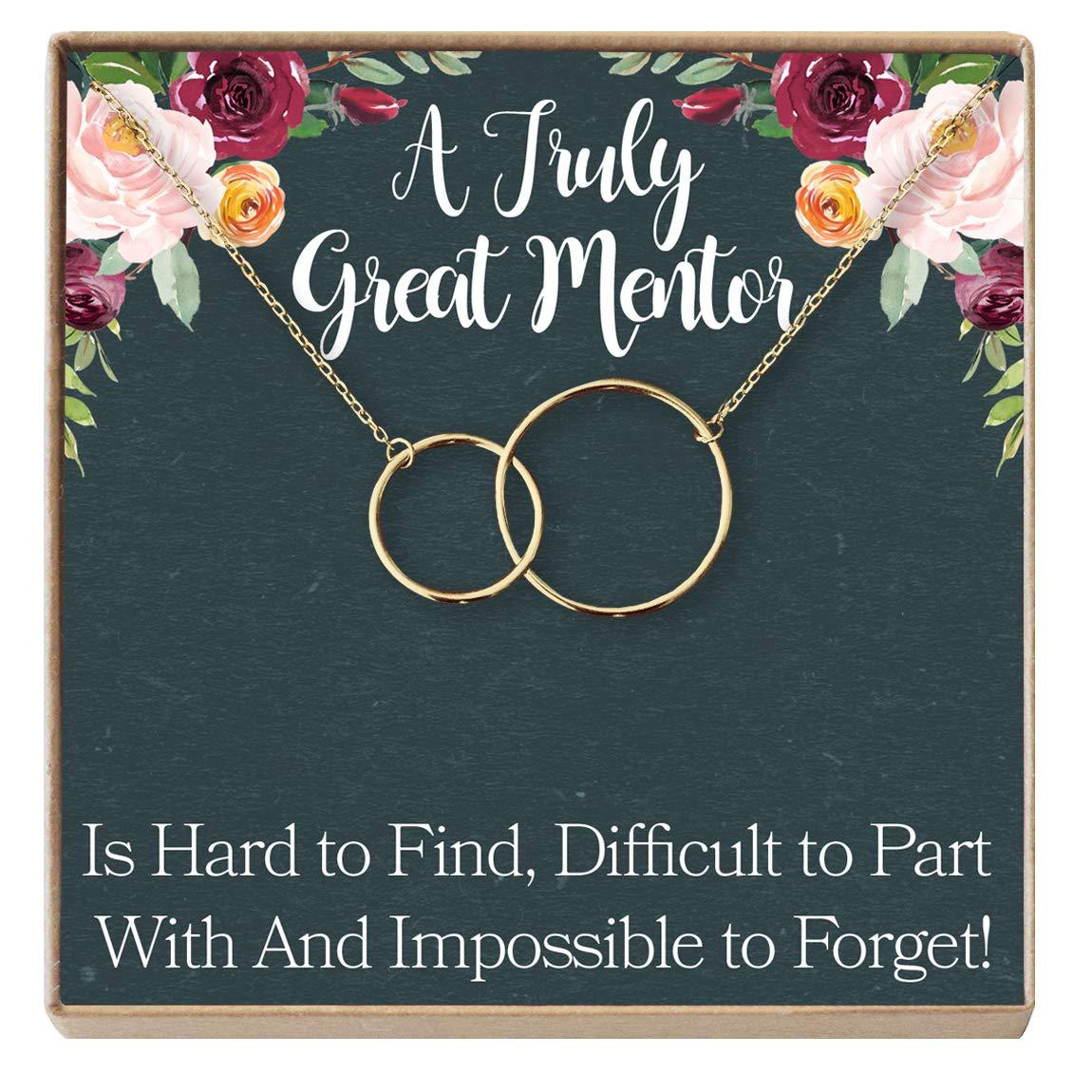Professor Tutor Mentor Gift Necklace: Gift for Boss Coworker Teacher 2 Interlocking Circles