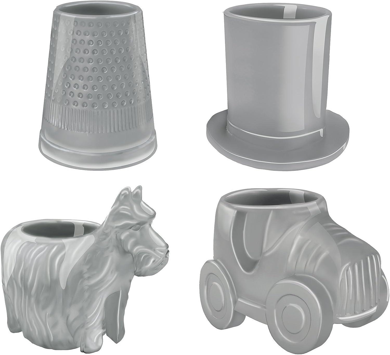 Vandor Hasbro Monopoly Game Pieces Sculpted Ceramic Mini Glass Set, 4 Piece Set, Gray