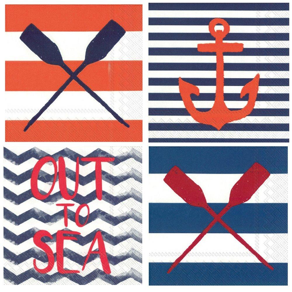 FAKKOS Design Nautical Boat Lake Beach Theme Summer Cocktail Napkins Variety Pack 40 Total Napkins