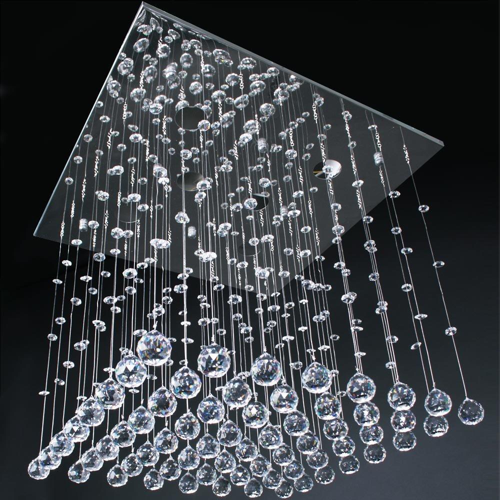 Jago Lámpara Araña con Colgantes de Cristal Lámpara de Techo Lámpara Colgante Iluminación A++ hasta E Tamaño a Elegir (50 x 50 x 50cm)