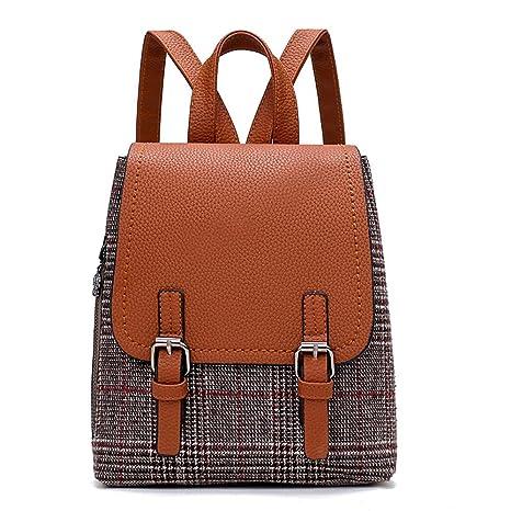 DAYLIN Mujer Niña Mochilas Clásico Tartán Bolsa de Viaje School Bag Cuero de  PU Bolso Bandolera 52f65729f495