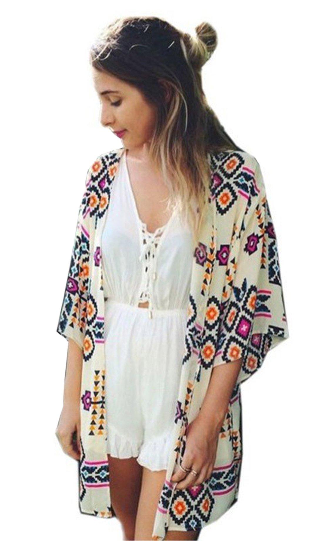 Relipop Women's Sheer Chiffon Blouse Loose Tops Kimono Floral Print Cardigan (Medium, Style 4)