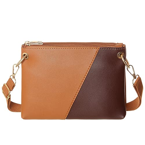 afe37409f3 Small Crssobody Bag Double Separate Pockets Crossbody Shoulder Handbag  Wallet For Women(Brwon)