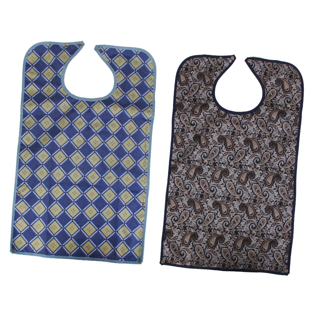 Homyl Pack of 2 Waterproof Bib Adult Mealtime Cloth Protector Detachable Disability Aid Aprons