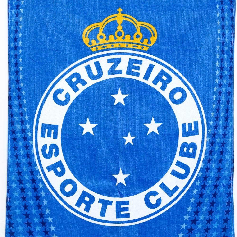 3f4e3e5aa0dcf Toalha Cruzeiro Brasão Veludo - Azul+branco - Único: Amazon.com.br