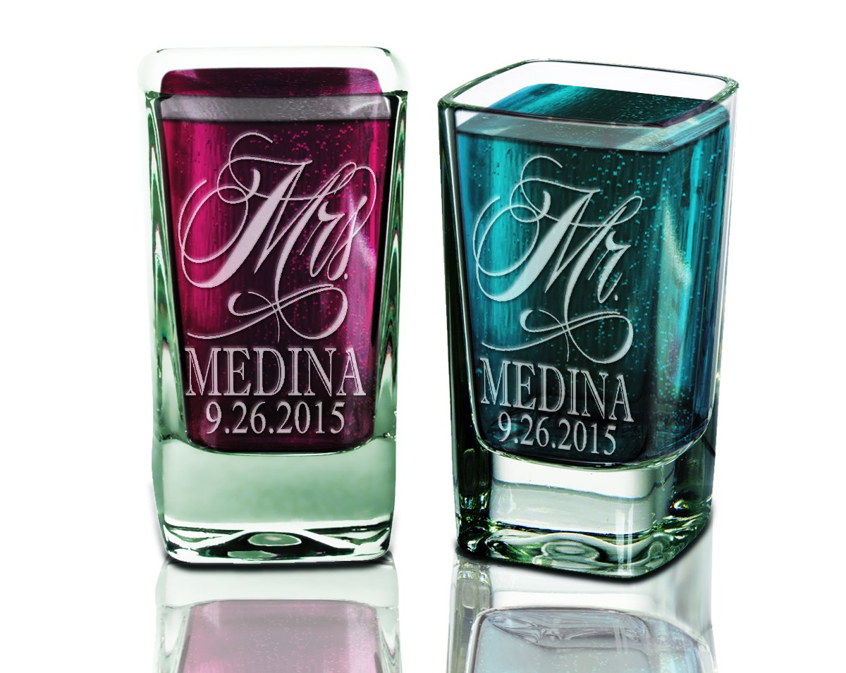 Set of TWO Mr. and Mrs. Shot Glass Personalized 2.75oz with Date Last Name for Future Mrs. Bridal Shower Wedding Newlyweds Gift Favor Rehearsal Decor