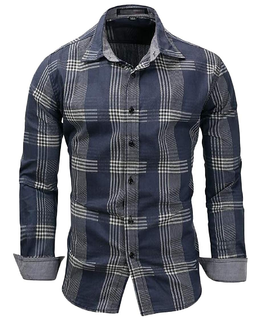Lutratocro Men Long Sleeve Plus Size Classic Fit Checkered Button Front Shirts