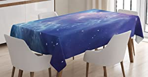 Ambesonne Outer Space Tablecloth, Outer Space Nebula in The Galaxy with Star Clusters Mysterious Astronomy Art, Rectangular Table Cover for Dining Room Kitchen Decor, 60