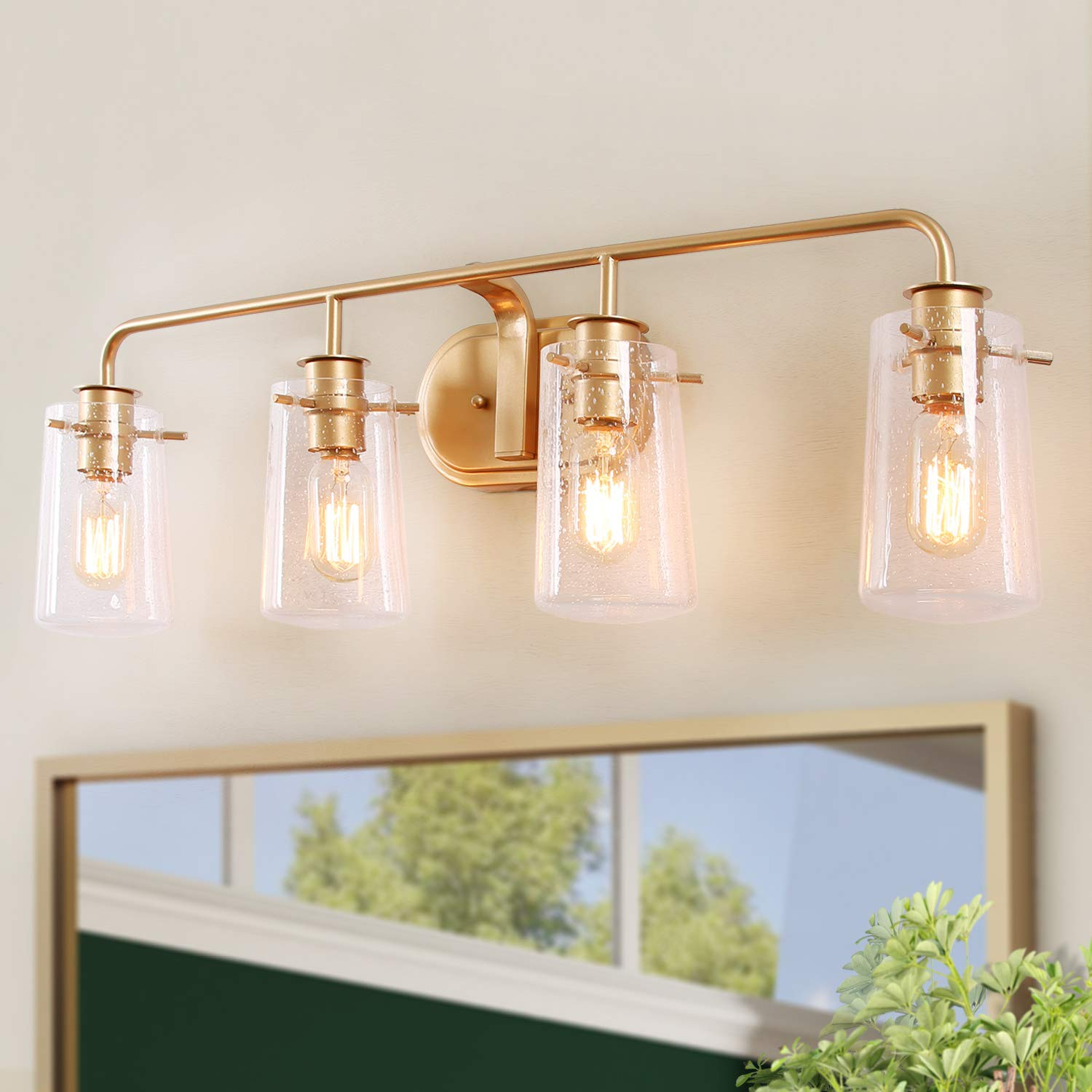 """KSANA Vanity Light, 4-Light Modern Bathroom Lighting in Antique Brass Metal Finish with Clear Bubbled Glass Shades, 31"""" Large Mid-Century Wall Sconce"""