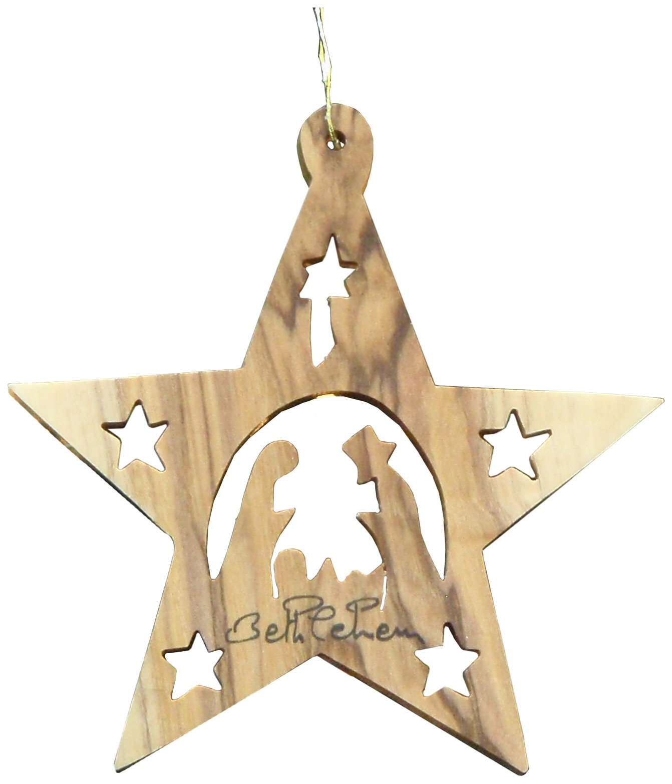 Earthwood Olive Wood Star with Nativity and Stars Ornament