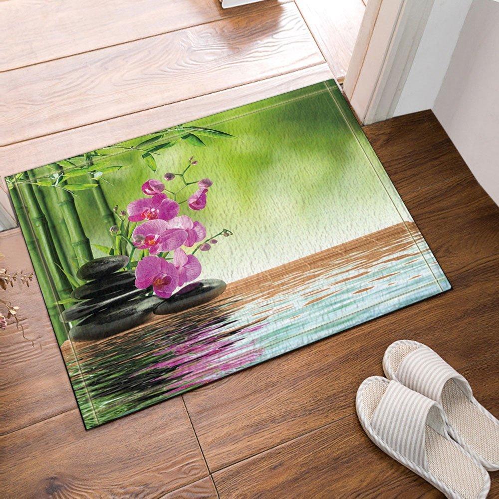 Gohebe spa Decor Zen Stones aromatico orchidee boccioli trattamento vacanza tappeto da pavimento antiscivolo Entryways indoor outdoor anteriore zerbino tappeto bagno tappetino da bagno, 60 x 40 cm 60x 40cm