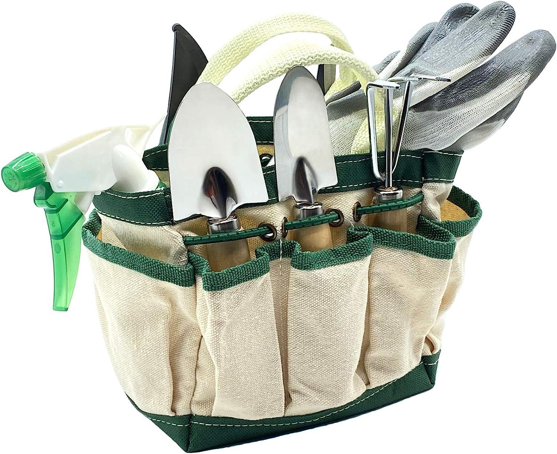 RyKing Small Garden Tool Set, 8 Piece Gardening Balcony Mini Kit Bag, Trowel Transplanter Hand Rake Pruner Snips Shovel Gloves Watering Spray, Stainless Steel Wooden Handles, Gift for Woman Men Kids