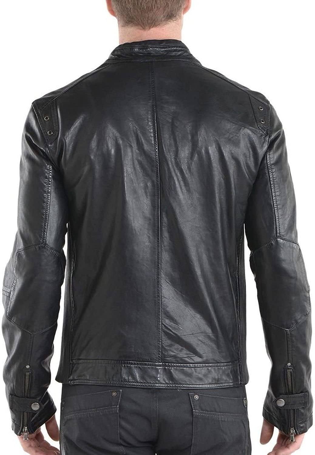 Men Leather Jacket Slim Fit Biker Motorcycle Genuine Lambskin Jacket T788