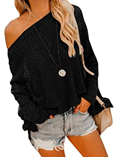 Chuanqi Womens Off The Shoulder Sweater Oversized Sheer Pullover Sweaters  Loose Knitted Tunic Tops 3c4523876