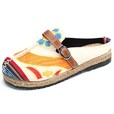 Bestickte Espadrilles, Tezoo Traditioneller Peking-Stil Schuhe, Sonne-Blume  Sommer Pantoletten, f40d44b9c9