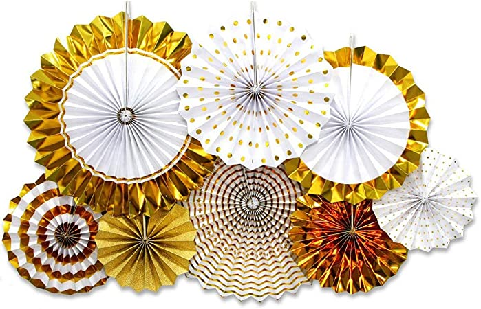 ONUPGO Gold Paper Fans Hanging Paper Fans Flower Set Colorful Mexican Fiesta Kids Party Decorations Hanging Banner for Wedding Birthday Engagement Bridal Shower Baby Shower Event Holiday Celebration