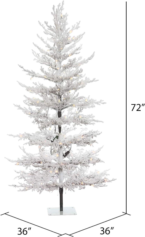 Amazon Com Vickerman Flocked Twig Pine Artificial Christmas Trees 6 Green Home Kitchen