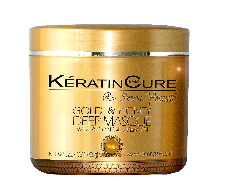 Amazon.com: Keratin Cure Gold and Honey Deep Hair Mask Masque ...