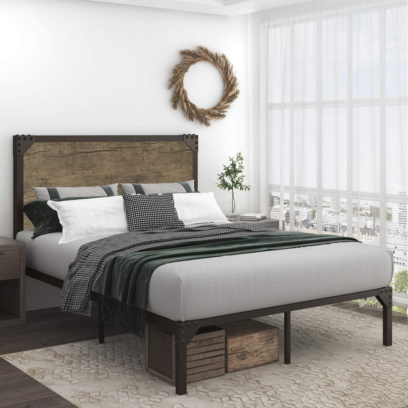 Amazon Com Allewie Queen Size Bed Frame With Headboard Strong Steel Slat Support Mattress Foundation No Box Spring Needed Easy Assembly Kitchen Dining