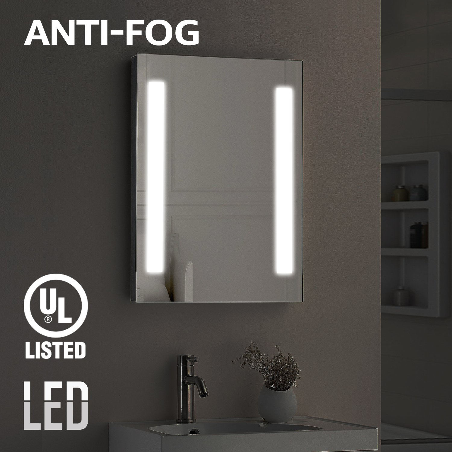 Fogless LED Illuminated Mirror Bathroom, UL-listed Wall Mounted Backlit Mirror 32' x 24' with 2 Lighted Ring