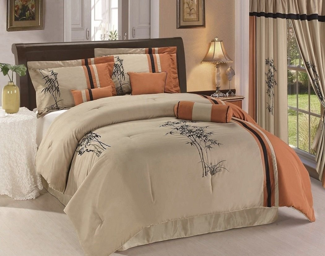 Chezmoi Collection 7-Piece Kariya Embroidery Bamboo Comforter Set, Full, Rust/Light Taupe