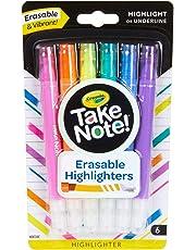 Crayola Take Note! Erasable Highlighters, School Supplies, 6Count