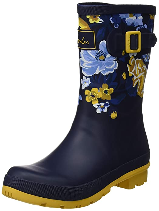 Joules Women's MOLLYWELLY Rain Boot, Navy Botanical, 7 Medium US