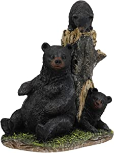"""Ebros 7.5"""" Tall Mother Black Bear with 2 Playful Cubs by Tree Stump Statue Rustic Wildlife Forest Western Cabin Decor Bears Figurine"""