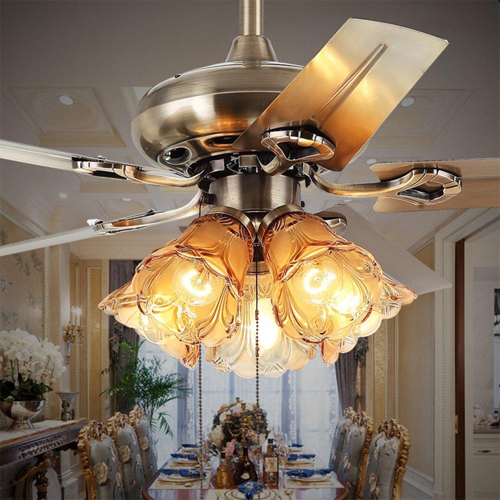 RainierLight Antique Ceiling Fan for Living Room/Bedroom/Restaurant LED Fan Chandelier Lighting Fixture 5 Metal Blades Remote Control(48-Inch)