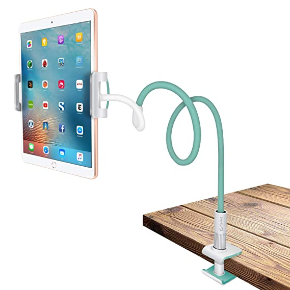 Tablet and Smartphone Clip Mount, Flexible gooseneck Clip on Desk or Table  Cell Phone Holder Stand- By Cellet –Universal for Tablets and Smartphones