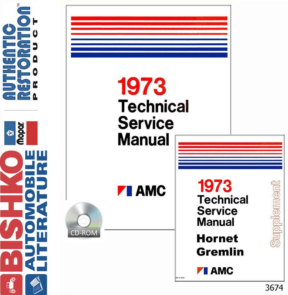 Bishko Automotive Literature 1973 Amc Gremlin Hornet Wiring Diagram Matador Shop Service Repair Manual Cd Engine Electrical