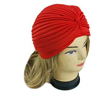 c2f5651ddee Amazon.com   Lady Stretchy Turban Head Wrap Band Chemo Bandana Hijab  Pleated Indian Cap Hat (Red)   Beauty