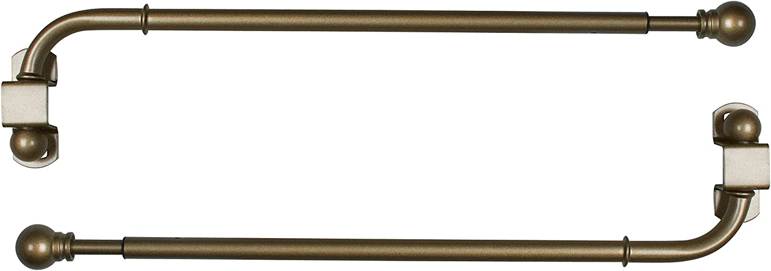Versailles Home Fashions Pair of Swing Arm with Ball Finial, 24 by 38-Inch, Antique Brass