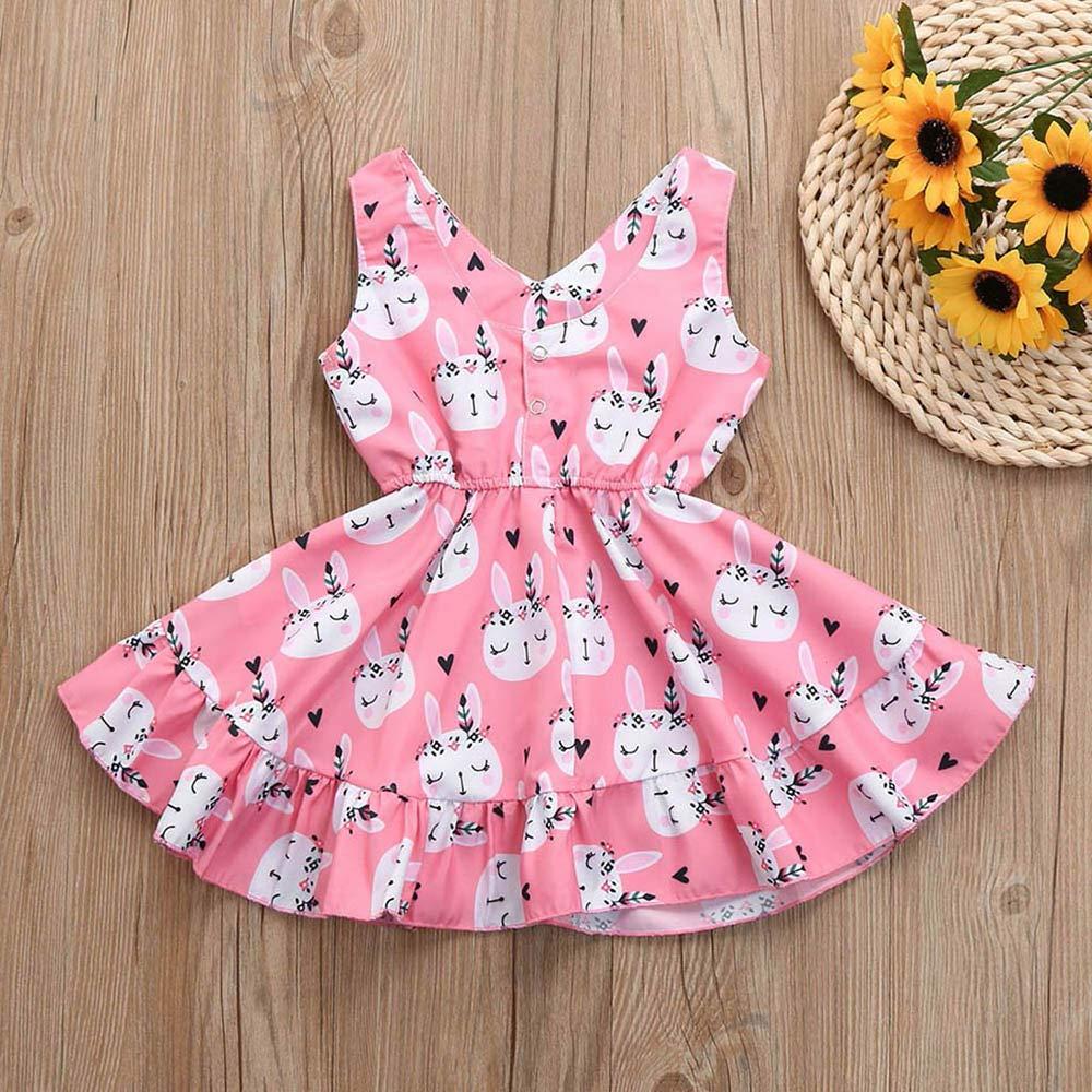 Hauzet Easter Kids Baby Girls Sleeveless Cartoon Rabbit Print Children Vest Princess Dress