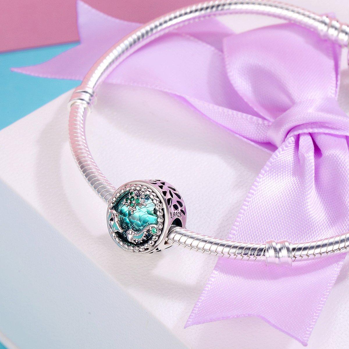 Bracelet pour Femme Breloque en Argent sterling perle myst/ère de l/'oc/éan avec Zircone cubique Vert loisir cr/éatif